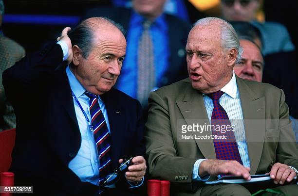 June 1998 FIFA World Cup, Nigeria v Bulgaria, Fifa president Joao Havelange with his successor Sepp Blatter .