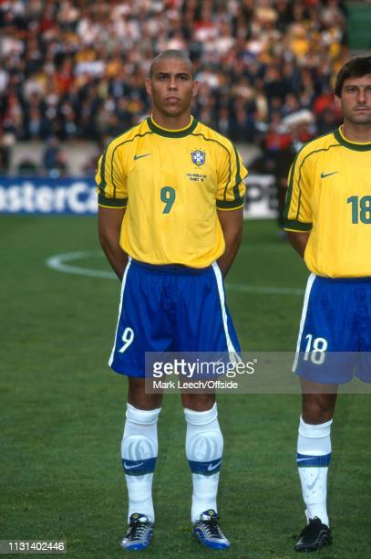 June 1998 - FIFA World Cup - Parc des Princes - Brazil v Chile - Ronadlo and Leonardo of Brazil. -