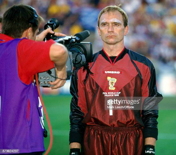 June 1998 - Fifa World Cup - Scotland v Morocco - Scotland goalkeeper Jim Leighton has the TV camera in his face during the national anthem.