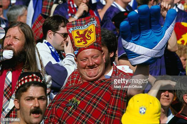 16 June 1998 FIFA World Cup Scotland v Norway a Scottish supporter dressed in tartan