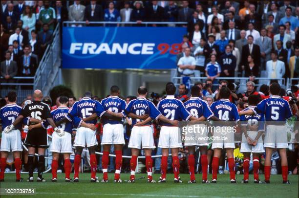 18 June 1998 Football World Cup 1998 France v Saudi Arabia The French team line up for the national anthems