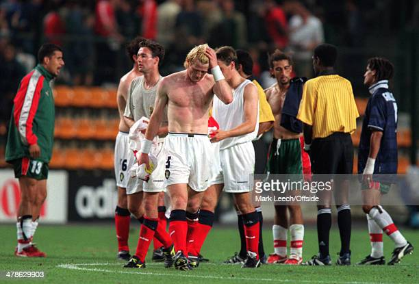 June 1998 - Football World Cup 1998 - Scotland v Morocco - Colin Hendry of Scotland looks dejected after losing 3-0 to Morocco.