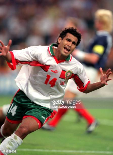 June 1998 - Football World Cup 1998 - Scotland v Morocco - Salaheddine Bassir of Morocco celebrates his goal.
