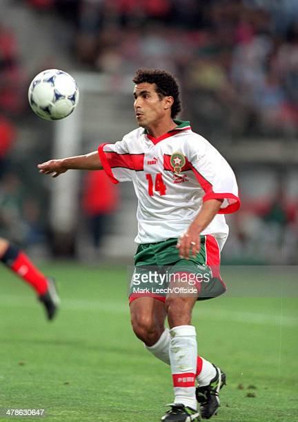 June 1998 - Football World Cup 1998 - Scotland v Morocco - Salaheddine Bassir of Morocco scores.
