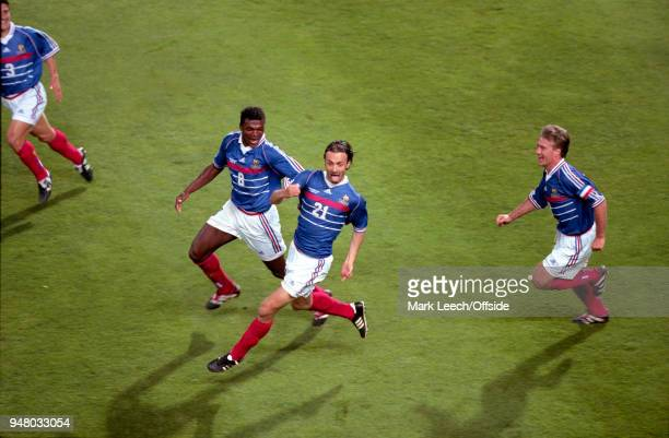 12 June 1998 Marseille FIFA World Cup France v South Africa Christophe Dugarry of France celebrates his goal
