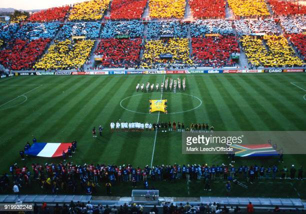 June 1998 Marseille - World Cup 1998 Football - France v South Africa - a colourful scene in the Stade Velodrome as the teams line up for the...