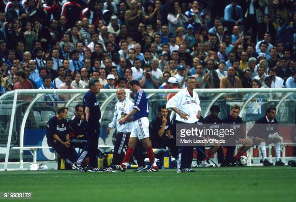 18 June 1998 World Cup 1998 Football France v Saudi Arabia Zinedine Zidane of France walks past coach Aime Jacquet after he had been shown the red...