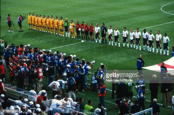 22 June 1998 World Cup 1998 Football Romania v England both teams line up for the national anthem before the match