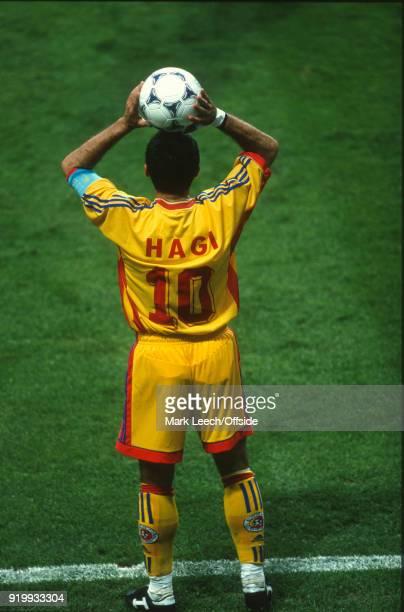 22 June 1998 World Cup 1998 Football Romania v England George Hagi of Romania prepares to take a throw in