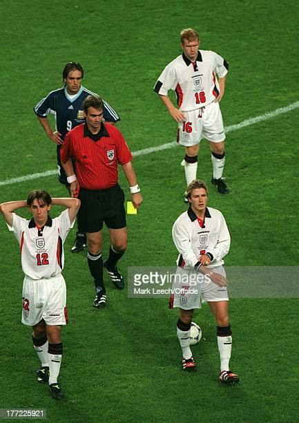 30 June 1998 World Cup round of sixteen Argentina v England David Beckham is shown the red card for his kick at Diego Simeone