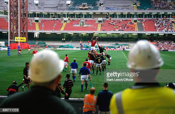 26 June 1999 South Africa Tour Wales v South Africa Fans and workmen watch a lineout during the opening match at the Millennium Stadium