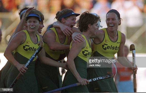The Australian ''Hockeyroos'' players celebrate their victory over The Netherlands in the Womens Final at the State Hockey Centre Brisbane Australia...