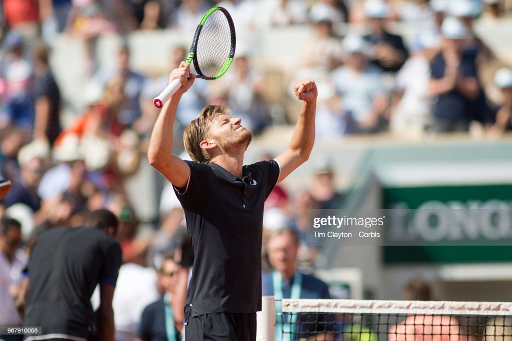 June 2. French Open Tennis Tournament - Day Seven. David Goffin of Belgium celebrates his five set victory over Gael Monfils of France on Court Suzanne Lenglen in the Men's Singles Competition at the 2018 French Open Tennis Tournament at Roland Garros on June 2nd 2018 in Paris, France.