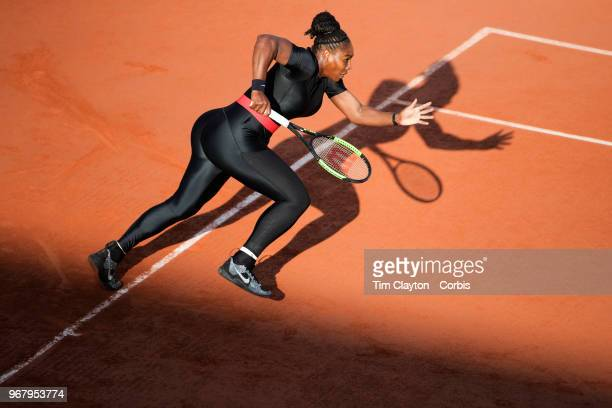 June 2. French Open Tennis Tournament - Day Seven. Serena Williams of the United States in action against Julia Goerges of Germany in the evening...