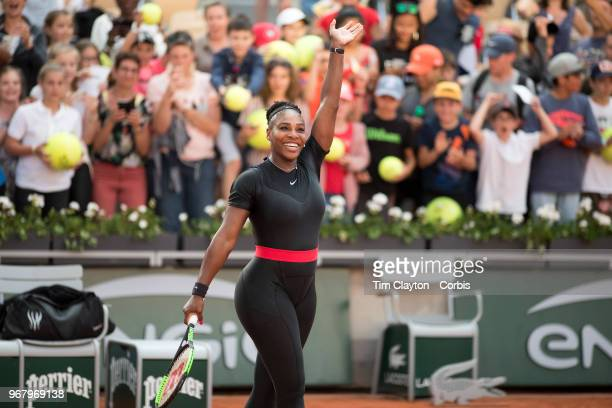 June 2 French Open Tennis Tournament Day Seven Serena Williams of the United States celebrates her win against Julia Goerges of Germany on Court...