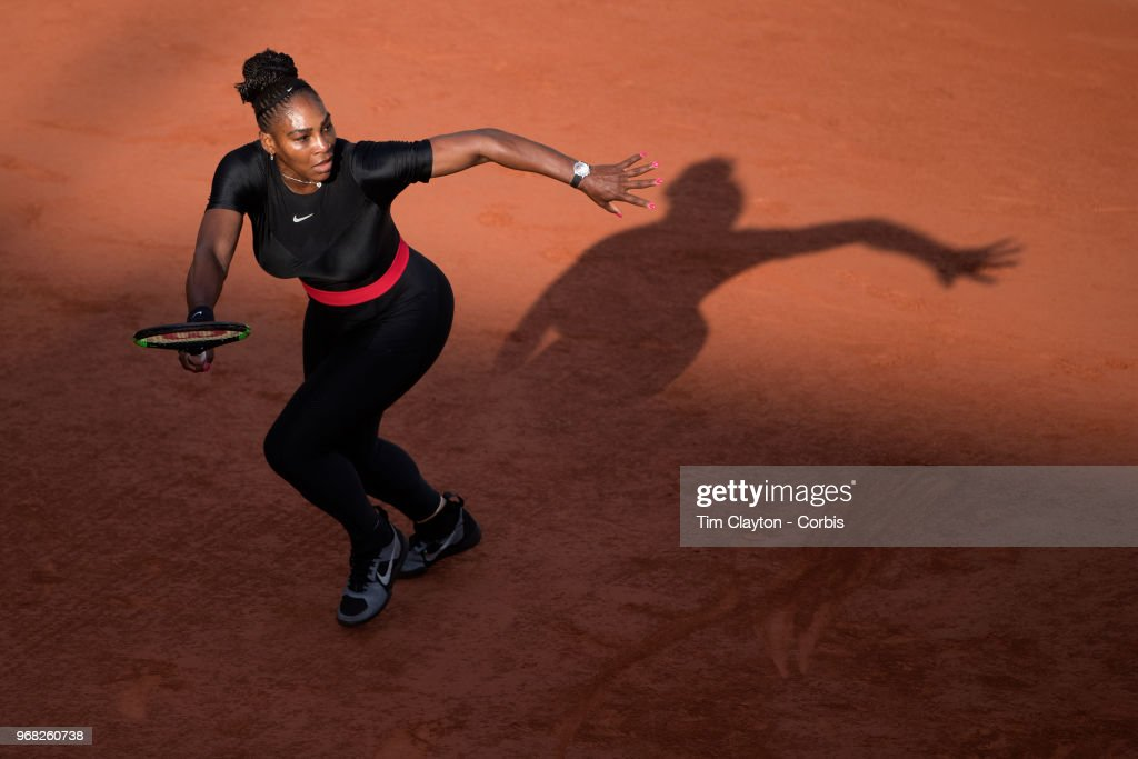 June 2. French Open Tennis Tournament - Day Seven. Serena Williams of the United States in action against Julia Goerges of Germany in the evening light on Court Suzanne Lenglen in the Women's Singles Competition at the 2018 French Open Tennis Tournament at Roland Garros on June 2nd 2018 in Paris, France.