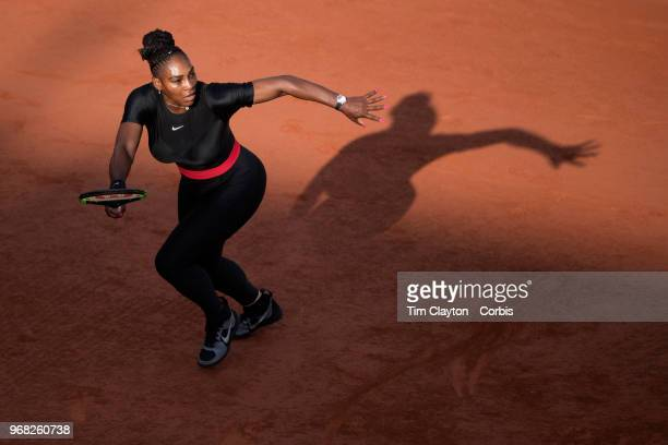 June 2 French Open Tennis Tournament Day Seven Serena Williams of the United States in action against Julia Goerges of Germany in the evening light...
