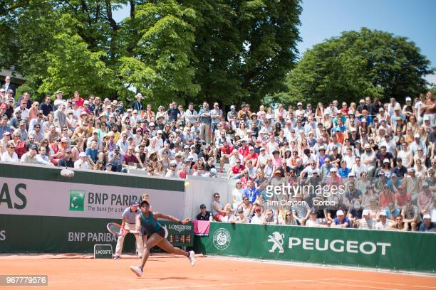 June 2 French Open Tennis Tournament Day Seven Sloane Stephens of the United States in action against Camila Giorgi of Italy on Court eighteen in the...