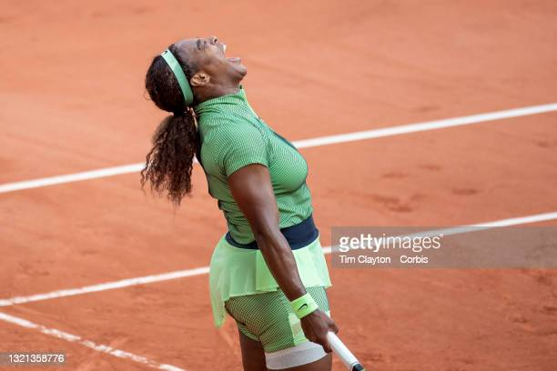 June 2. Serena Williams of the United States celebrates a point during her victory against Miahaela Buzarnescu of Romania on Court Philippe-Chatrier...