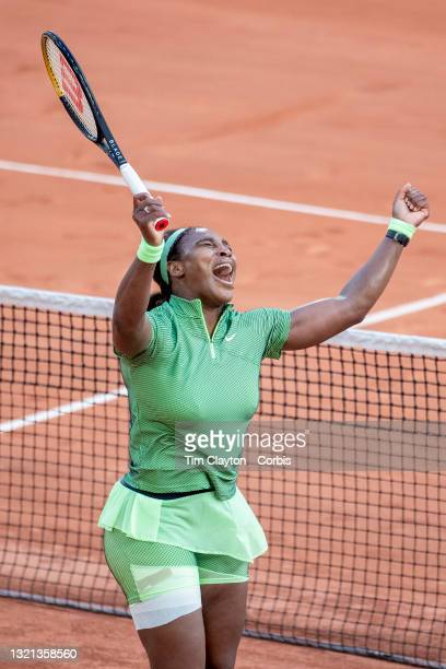 June 2. Serena Williams of the United States celebrates holding her serve late in the game during her victory against Miahaela Buzarnescu of Romania...