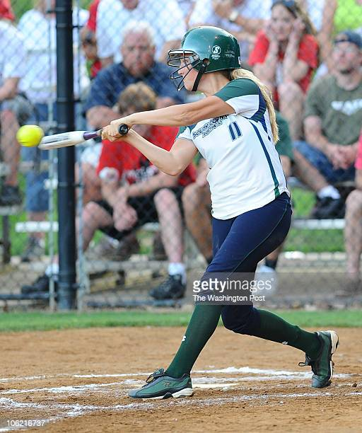 South County 3B Stephanie Sbardella makes contact during action against McLean on June 2 2010 in Fairfax Va {Photo by Jonathan Newton/The Washington...