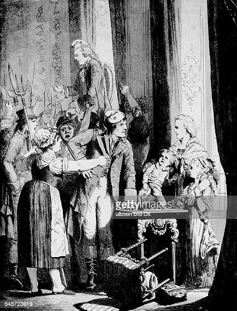 June 20, 1792: The first march of the masses to the Tuileries protesting against the price rise. On the right: The royal family; King Louis XVI...