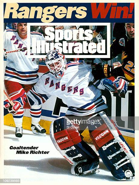 June 20 1994 Sports Illustrated via Getty Images CoverHockey NHL Finals New York Rangers goalie Mike Richter in action vs Vancouver Canucks Jeff...