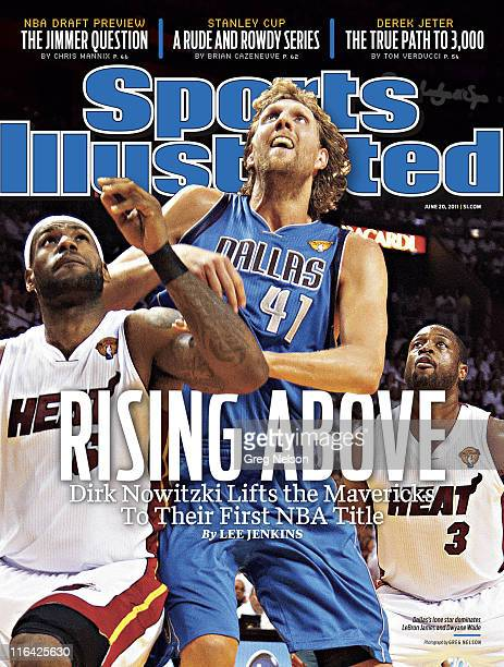 Basketball NBA Finals Dallas Mavericks Dirk Nowitzki in action boxing out vs Miami Heat LeBron James and Dwyane Wade at American Airlines Arena Game...