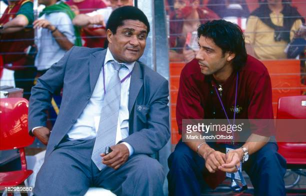 12 June 2000 EURO Championships Portugal v England Eusebio a retired Portugese footballer in attendance for the match sitting next to Rui Costa of...