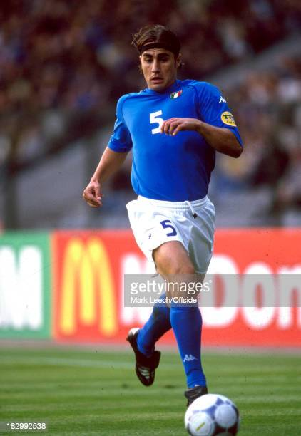 June 2000 - Euro Championships Quarter Final - Italy v Romania - Fabio Cannavaro runs down the line with the ball for Italy.