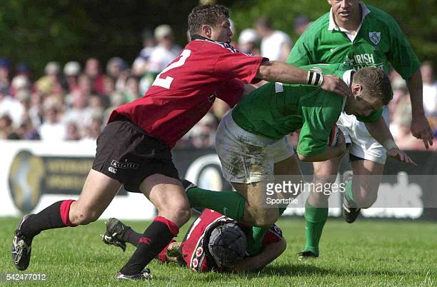 17 June 2000 Kevin Maggs Ireland is tackled by Mark Irvine and Scott Stewart Canada Rugby International Canada v Ireland Fletcher's Fields Ontario...