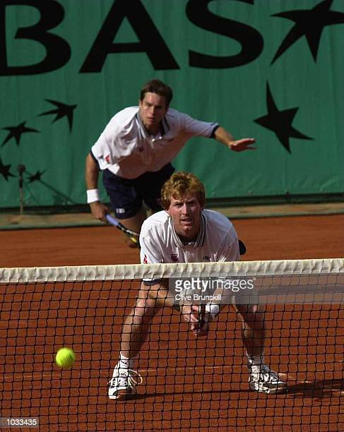Todd Woodbridge and Mark Woodforde of Australia during the Final of the Mens Doubles at the French Open Roland Garros Paris France Mandatory Credit...