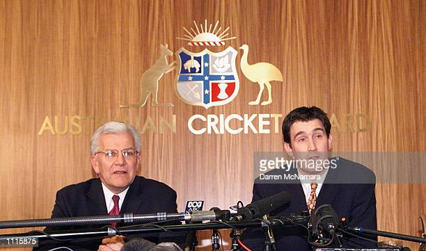 Malcolm Speed current CEO of the Australian Cricket Board and his incoming replacement James Sutherland annnounce that the ACB will host a three...