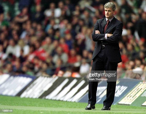 Mark Hughes Wales Manager looks on during the match between Wales and Poland in the 2002 World Cup Qualifying Group 5 at Millennium Stadium Cardiff...