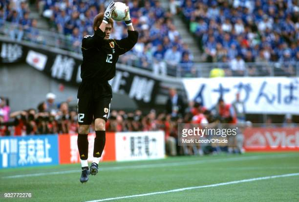 14 June 2002 2002 World Cup Football Tunisia v Japan Japan goalkeeper Seigo Narazaki jumps up to catch the ball