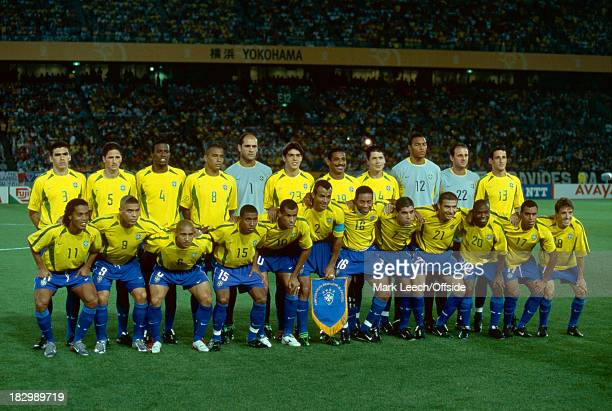 30 June 2002 FIFA Football World Cup FINAL Brazil v Germany The Brazilian squad line up for a squad photo including the likes of Ronaldinho Ronaldo...