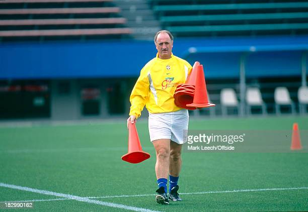 29 June 2002 FIFA World Cup Brazil Training Filipe Scolari of Brazil sets out the cones for the training session the day before the final