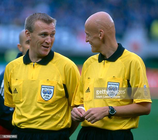 18 June 2002 FIFA World Cup Knockout Stage 1 Japan v Turkey Referee Pierluigi Collina and Fourth Official Graham Poll have a pre match talk before...