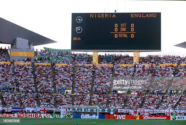 12 June 2002 FIFA World Cup Nigeria v England A general view of the Osaka Nagai Stadium with the scoreboard reading 00