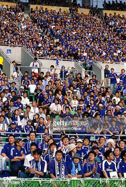 14 June 2002 FIFA World Cup Tunisia v Japan Japanese supporters in the Nagai Stadium