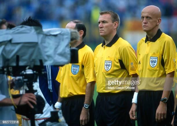 18 June 2002 Rifu FIFA World Cup Japan v Turkey a television camera points at referee Pierluigi Collina and fourth official Graham Poll