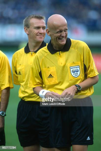18 June 2002 Rifu FIFA World Cup Japan v Turkey referee Pierluigi Collina smiling as he stands in front of fourth official Graham Poll