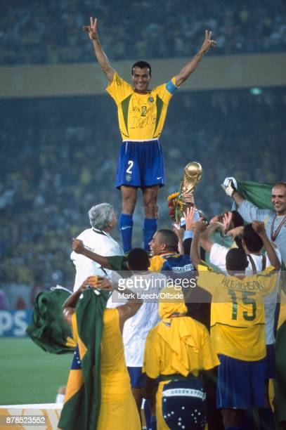 FIFA World Cup Final Brazil v Germany Cafu prepares to lift the trophy for Brazil