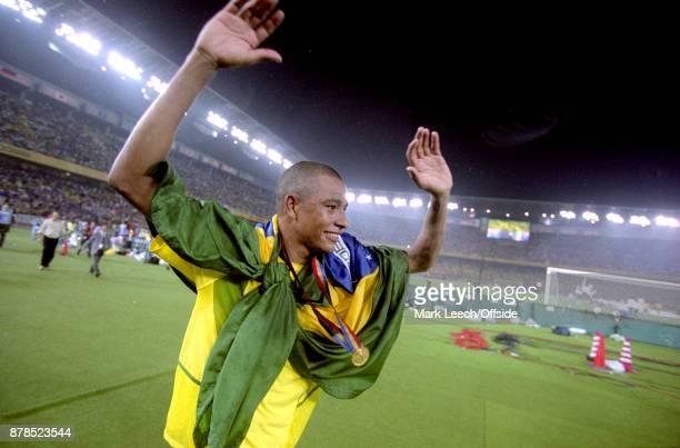 FIFA World Cup Final Brazil v Germany Gilberto Silva of Brazil celebrates on a lap of honour
