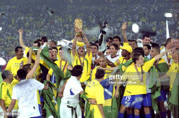 FIFA World Cup Final Brazil v Germany Rivaldo holds the trophy aloft for Brazil