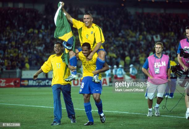 FIFA World Cup Final Brazil v Germany Ronaldo rides on the shoulders of Vampeta as Brazil celebrate victory