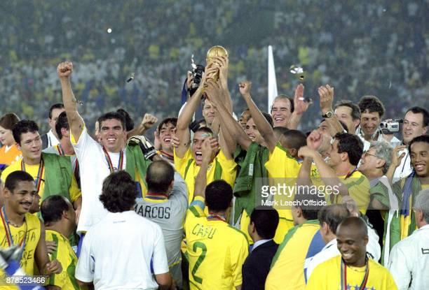 FIFA World Cup Final Brazil v Germany Ronaldo holds the trophy aloft for Brazil