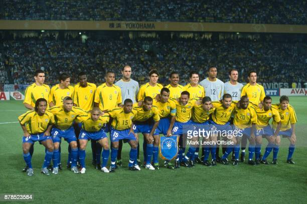 FIFA World Cup Final Brazil v Germany the whole Brazilian squad pose for a prematch group photo