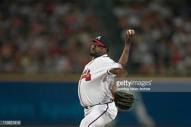 Antonio Alfonseca of the Atlanta Braves during the Braves 40 victory over the Cleveland Indians at Turner Field in Atlanta GA