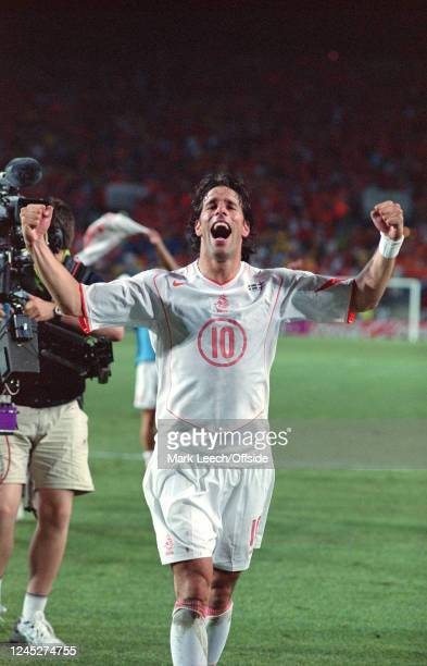 June 2004 - Euro 2004 - Quarter Final - Sweden v Netherlands - Ruud Van Nistelrooy of the Netherlands celebrates his teams victory following a...